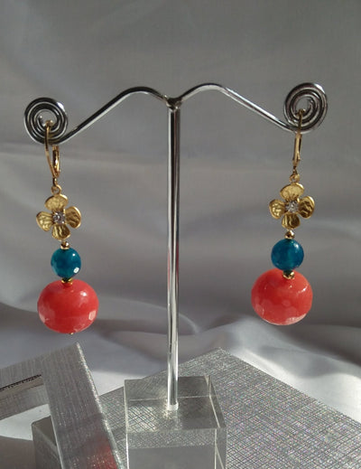 Gold Flower and Gemstones Drop Earrings