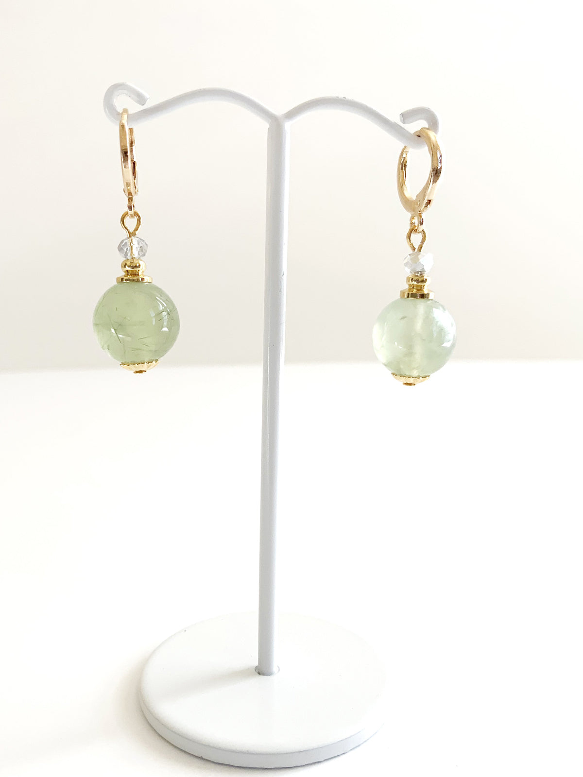 Green Jade Ball Earrings