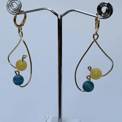 Heart-Shaped Drop Earrings with Gemstones