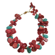 Turquoise and Coral Blossoms Necklace