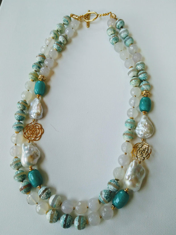 Daisy Necklace with Coral & Turquoise Stones