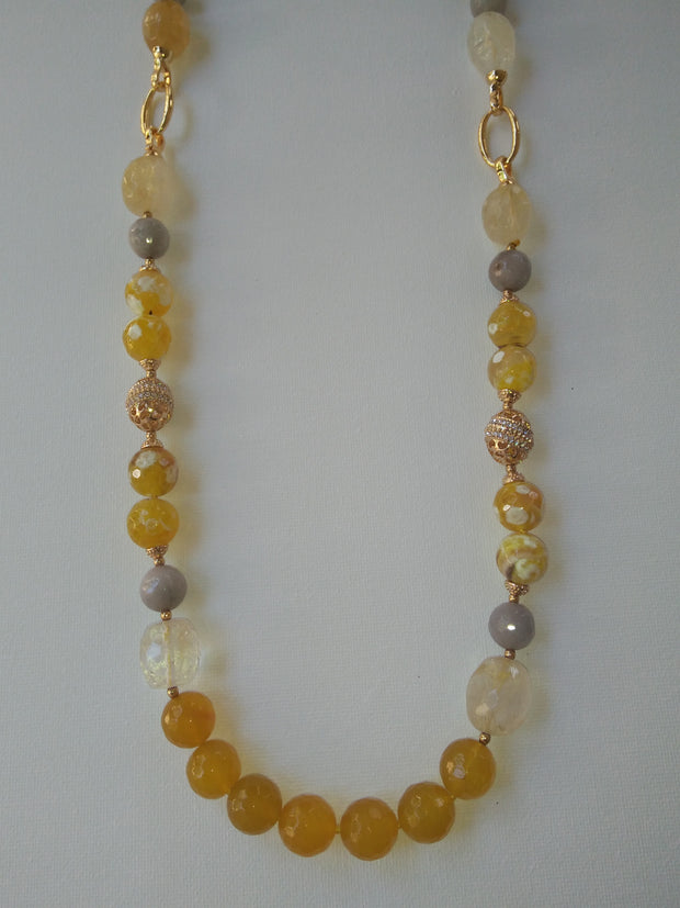 Yellow Gemstones Long Beaded Versatile Necklace