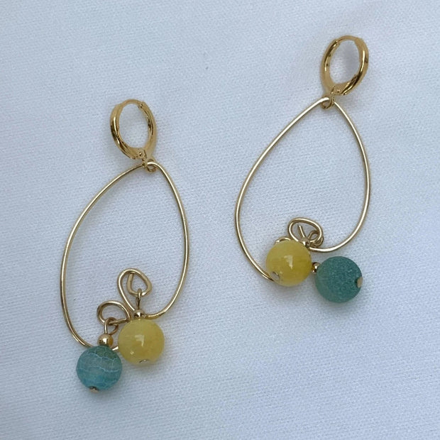 Leaf Hoop with Gemstones Drop Earrings