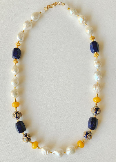Pearls and Lapis Necklace
