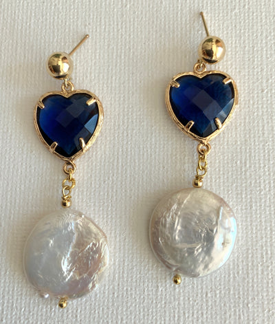 Pearl Heart Drop Earrings