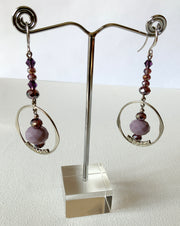 Purple Hoop Gemstone Earrings