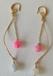 Pink Spiral Earrings