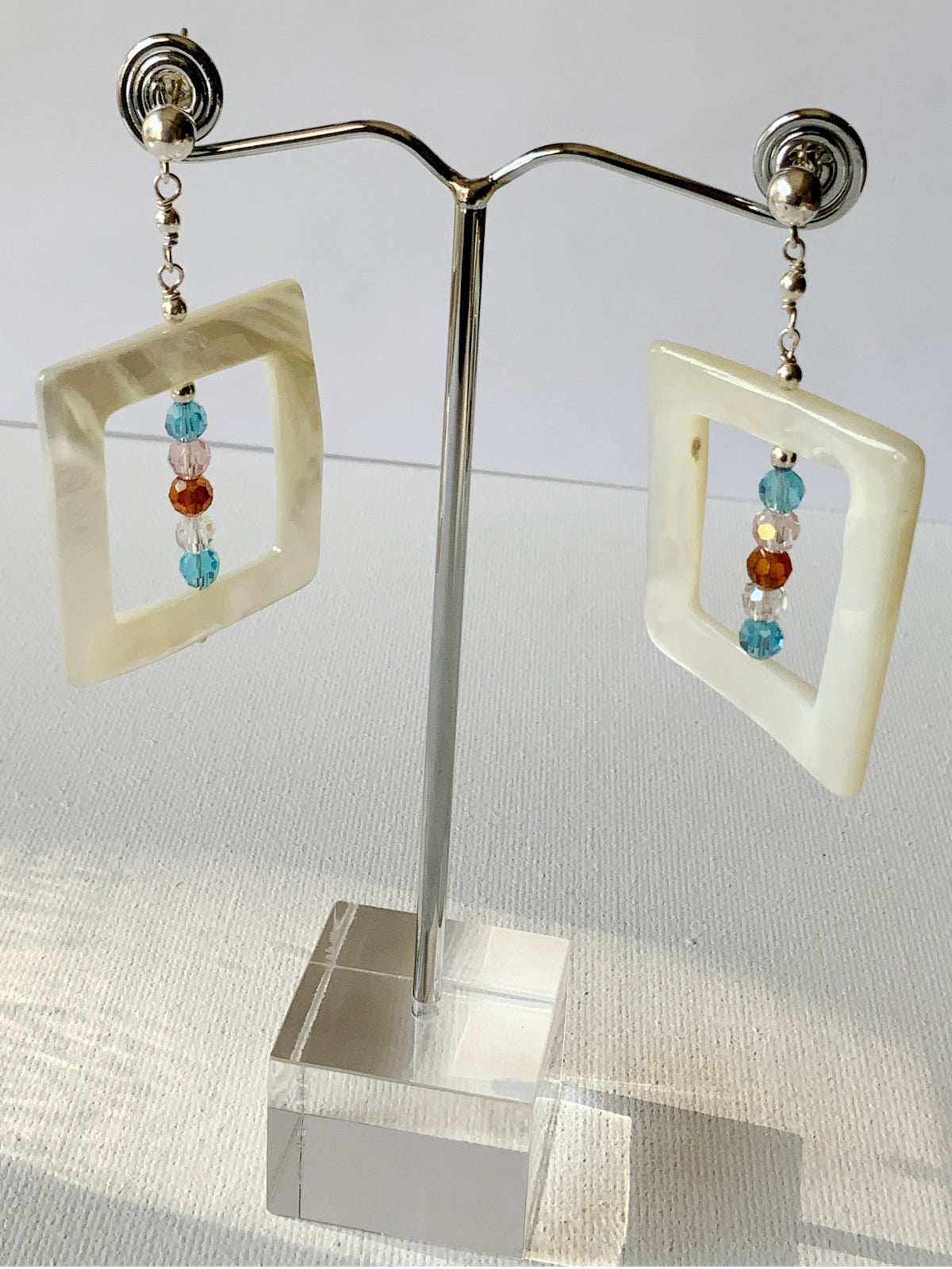 Square Shell Crystal Earrings
