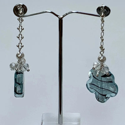 Transluscent Flower Gemstones Drop Earrings