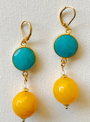 Two-Tone Gemstone Earring