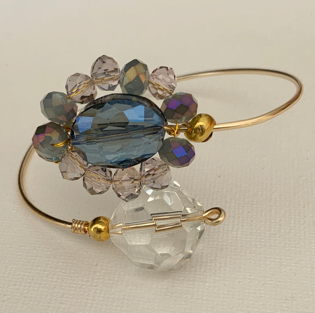 Purple Crystals Wire-Wrapped Bracelet