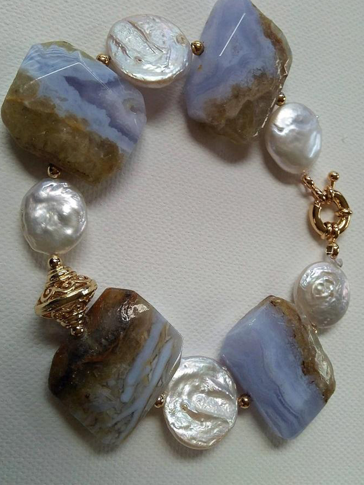 Emmari Pearls and Chalcedony Bracelet