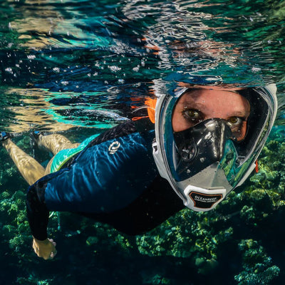 Ocean Reef Aria QR+ Full Face Snorkeling Mask - Action - Mike's Dive Store
