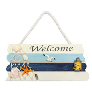 Mediterranean Wooden Welcome Sign