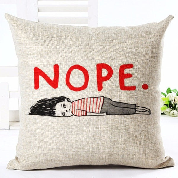 Illustrative Text Throw Pillow Cover [6 styles]