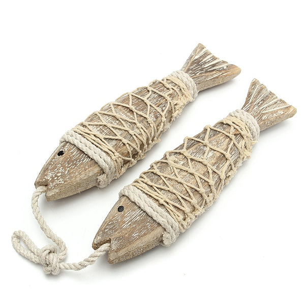 2pcs Hand Carved Hanging Fish Sculpture