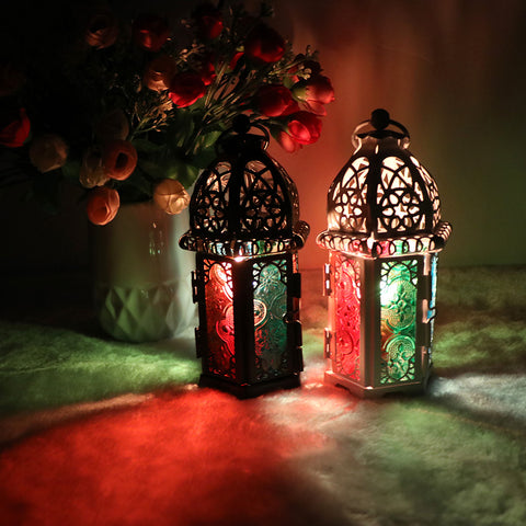 Moroccan Stained Glass Candle Holder