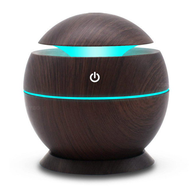 Wood Grain Aromatherapy Oil Cool Mist Diffuser 130ml, Changing LED Lights