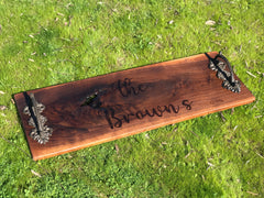 "Engraved Charcuterie Grazing Cheese Board Handles 36"" x 9-11"""