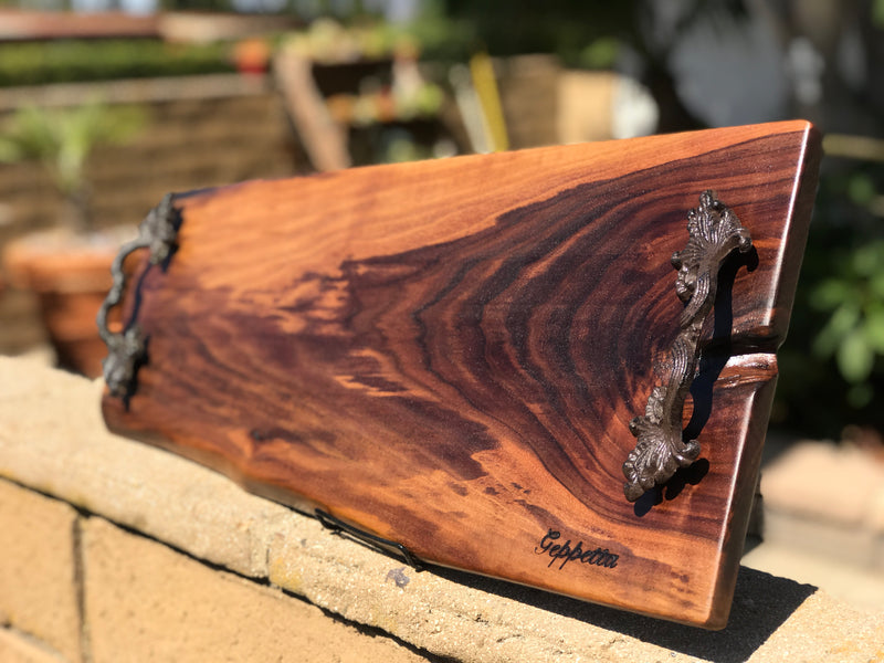 Large live edge walnut charcuterie board with handles