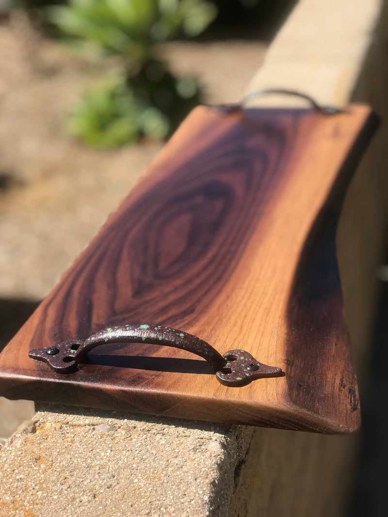 "Large charcuterie board live  edge with handles 21"" x 8"""