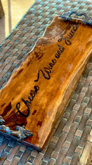 "Charcuterie board, cheeseboard, cheese platter, personalized, handles, California walnut , 24"" x 8-11"""