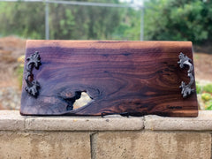 Live edge Charcuterie/cheese board with organic holes, Italian handles