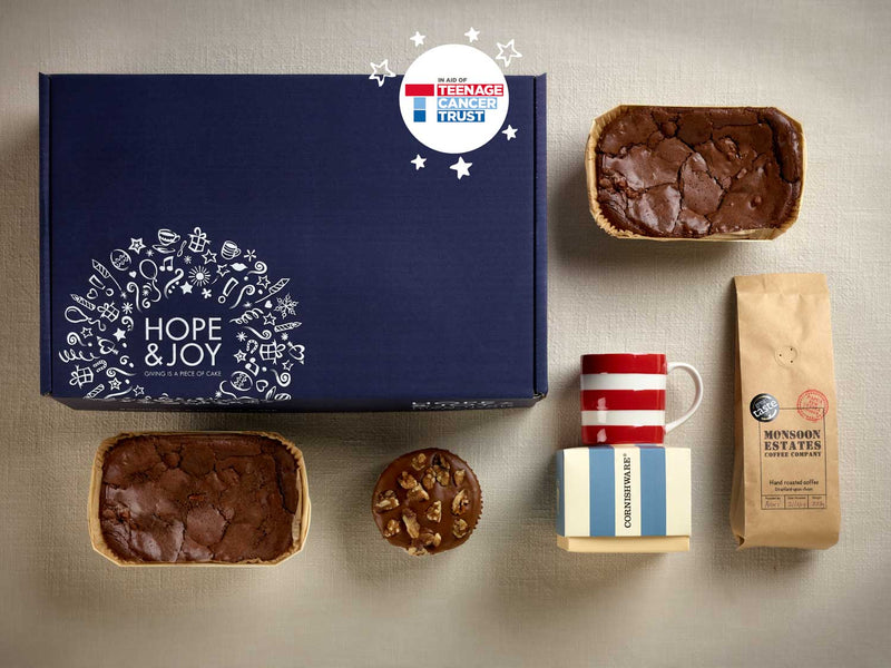 HOPE & JOY fathers day hamper, cornishware mug, brownie, coffee and walnut cake, monsoon estates coffee, chocolate brownie
