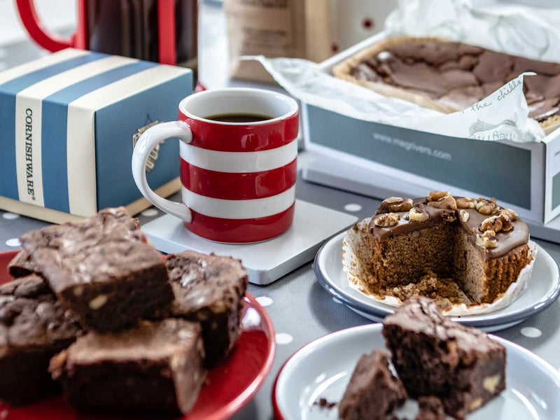 HOPE & JOY fathers day hamper, cornishware mug, brownie, coffee and walnut cake