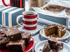 HOPE & JOY fathers day hamper, cornishware mug, brownie, coffee and walnut cake !