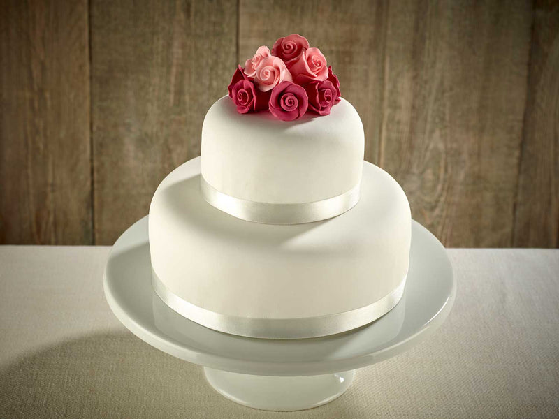 Pink Roses Two Tier Wedding Cake