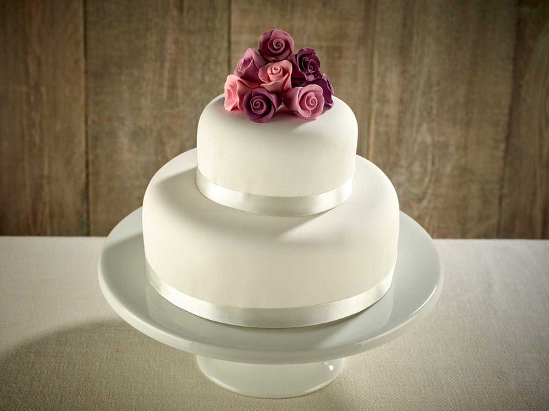 Purple Roses Two Tier Wedding Cake