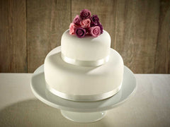 Purple Roses Two Tier Wedding Cake !