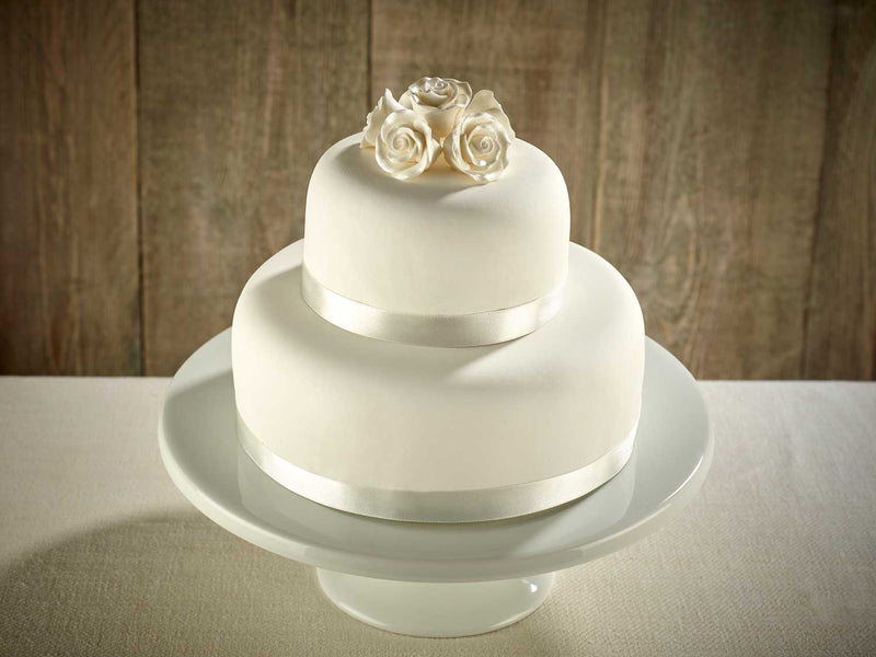 White Roses Two Tier Wedding Cake