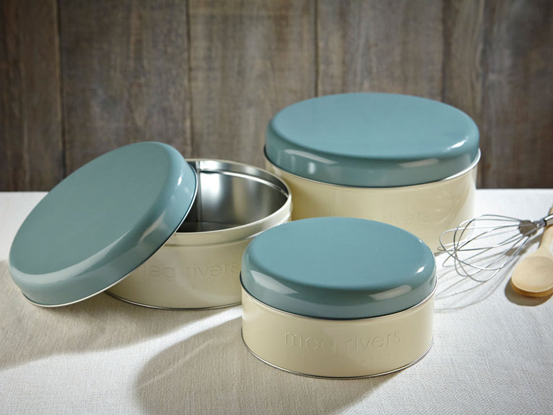 Set of 3 Retro Round Tins