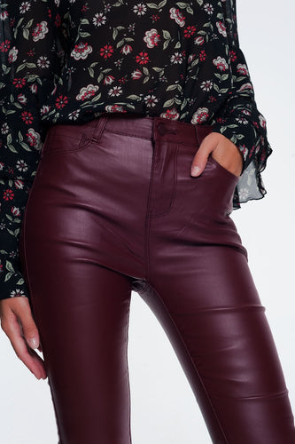 Q2 - pantalone Faux Leather Stretch Pants in Maroon