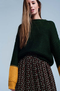 Green Knitted Sweater With Mustard Sleeves