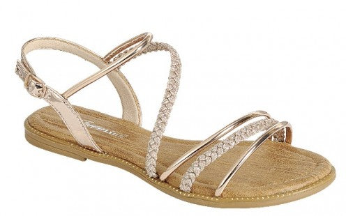 56058ada983 Women s Open Toe Strappy Back Braided Gladiator Sandals - Rose Gold