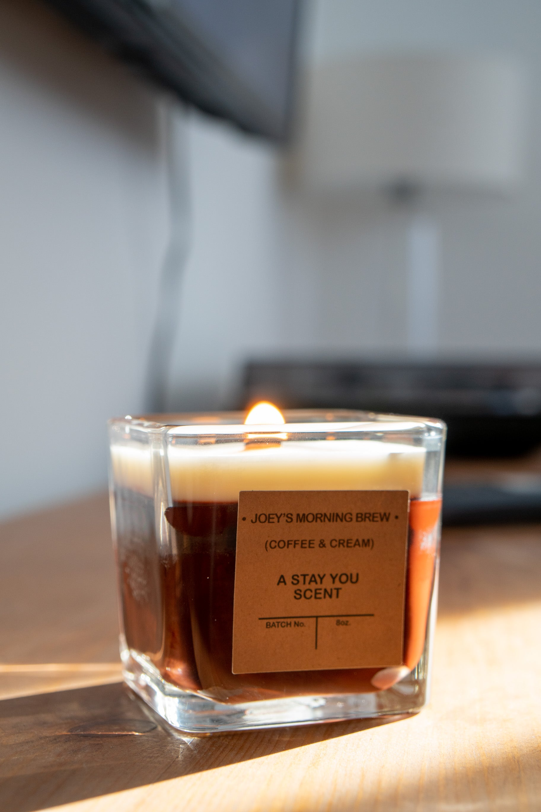 'Joey's Morning Brew' 12oz Soy Wax Candle 'Coffee & Cream'