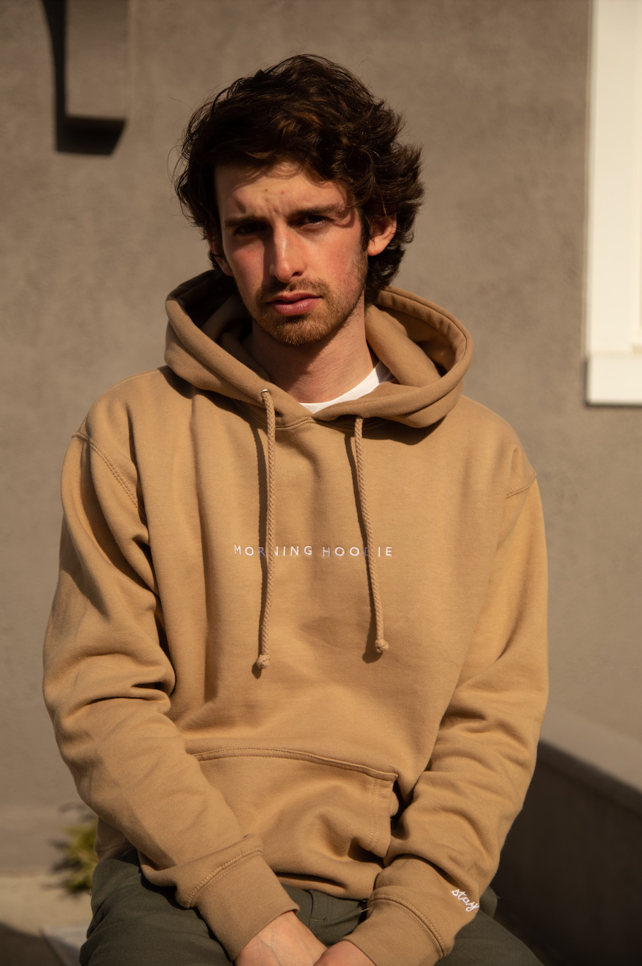 'Morning Hoodie' in Hot Latte, Embroidered in Frothy Cream Thread