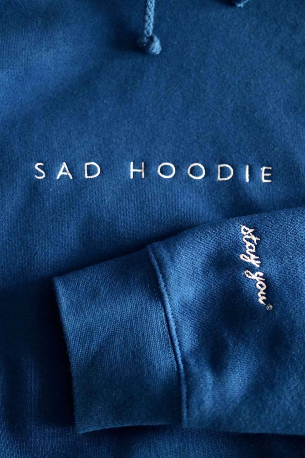 'Sad Hoodie' Embroidered in Deep Feels Blue