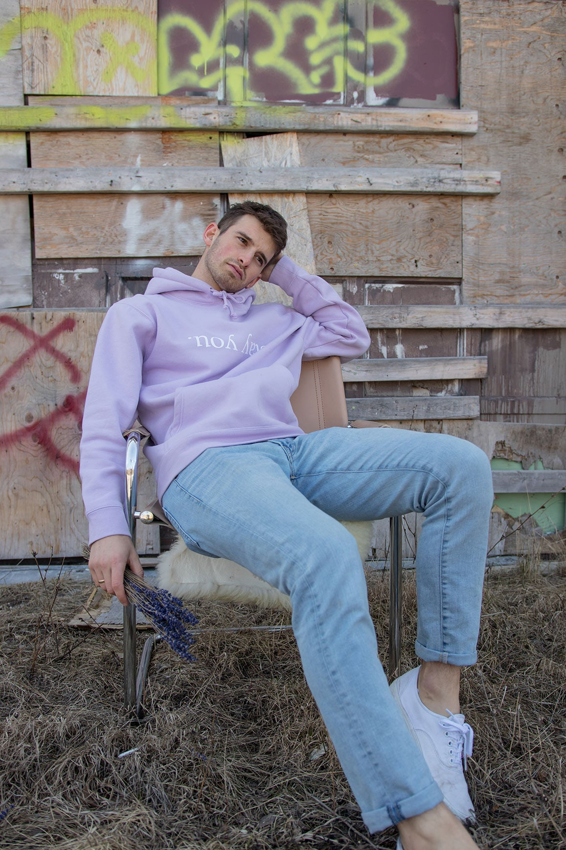 'Stay You' Printed Hoodie in Lush Lavender and Antique White