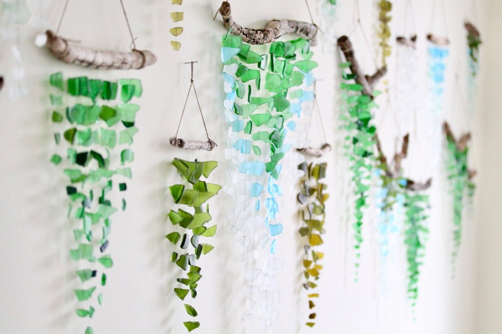 Sea glass mobiles. Handmade. Seaglass mobiles. Sea glass sun catchers, seaglass wind chimes.