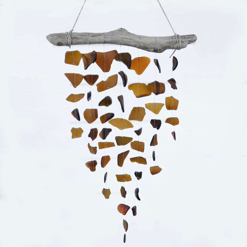 Sea Glass & Driftwood Mobile - Brown / Amber