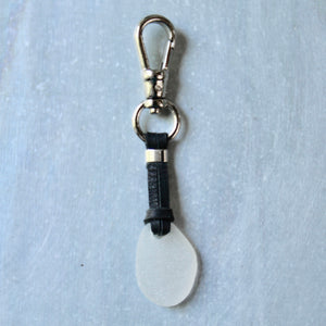 Sea Glass & Leather Keychains - TheRubbishRevival