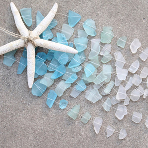 Sea Glass & Starfish Mobile - Ombre Blues