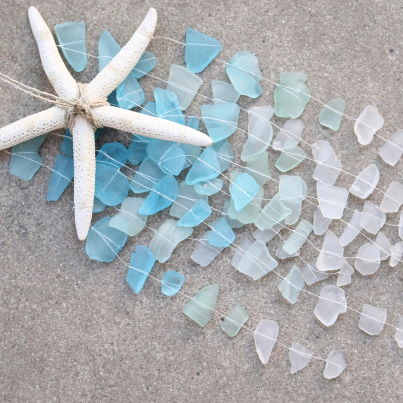 Sea Glass & Starfish Mobile - Ombre Blues Chandelier