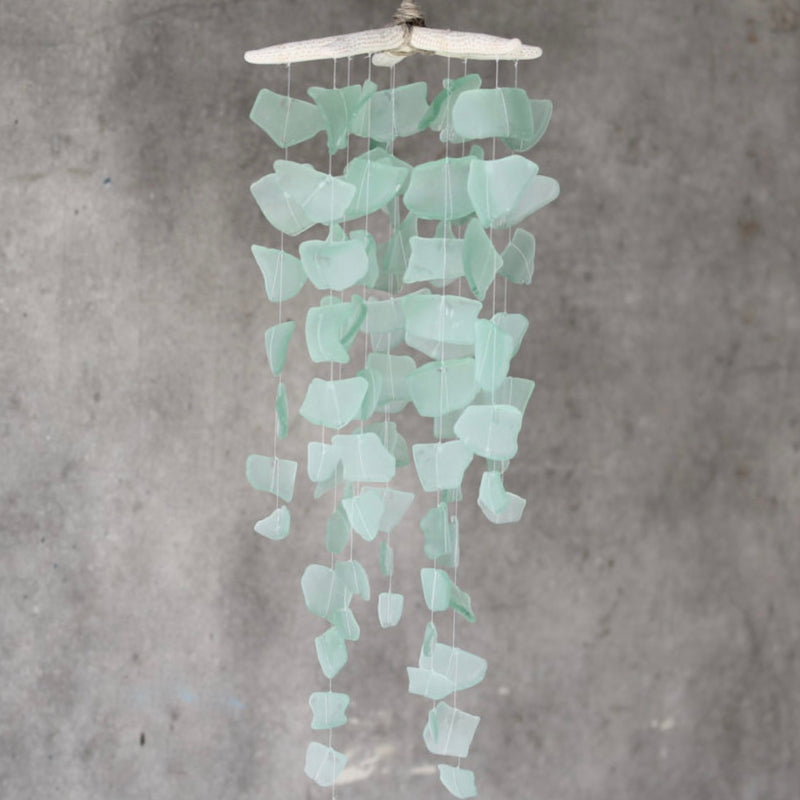 Sea Glass & Starfish Mobile - Solid Seafoam Chandelier