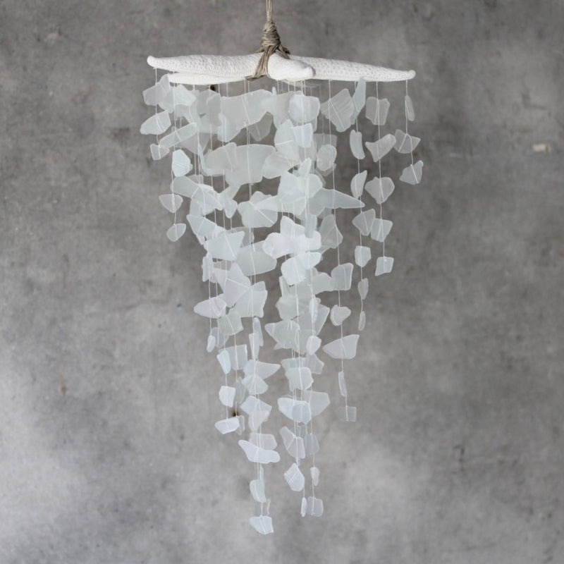 Sea Glass & Starfish Mobile - Grand in White Chandelier