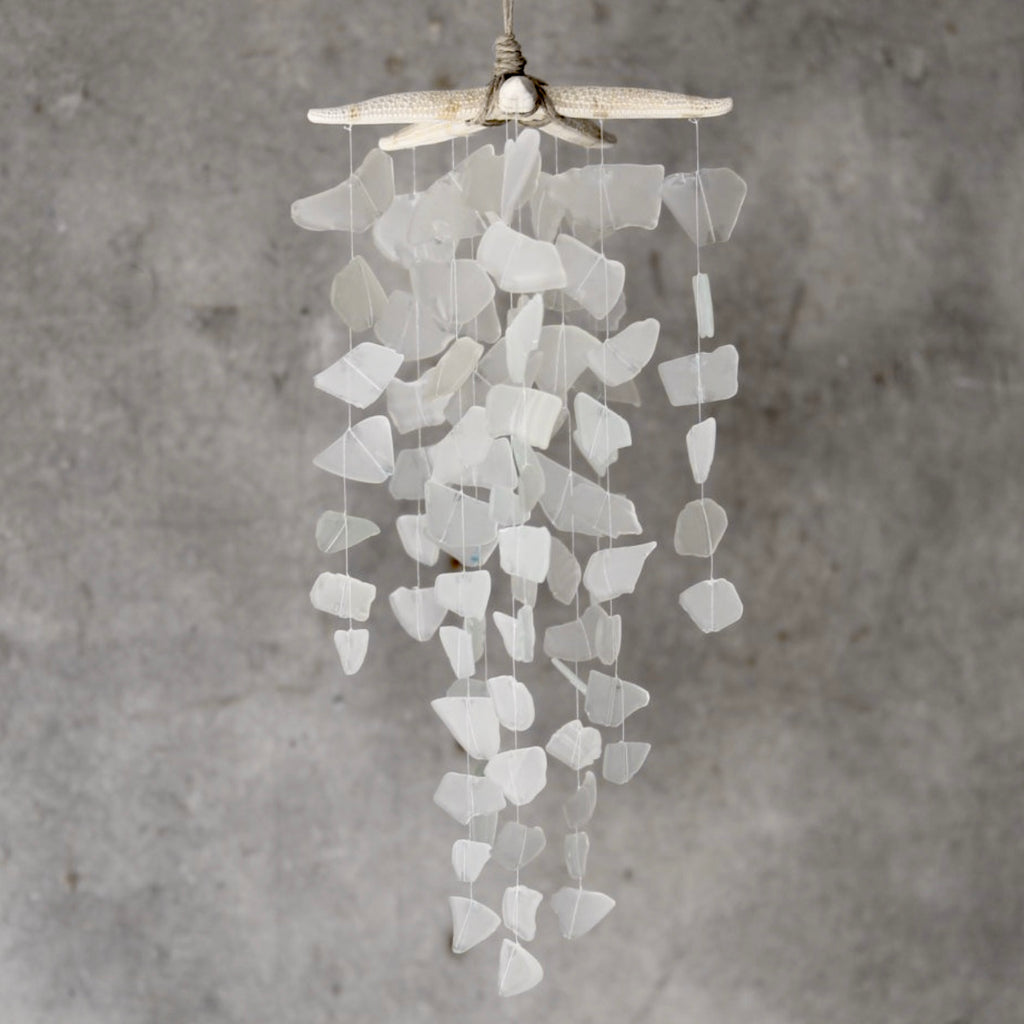 Sea Glass & Starfish Mobile - White Chandelier